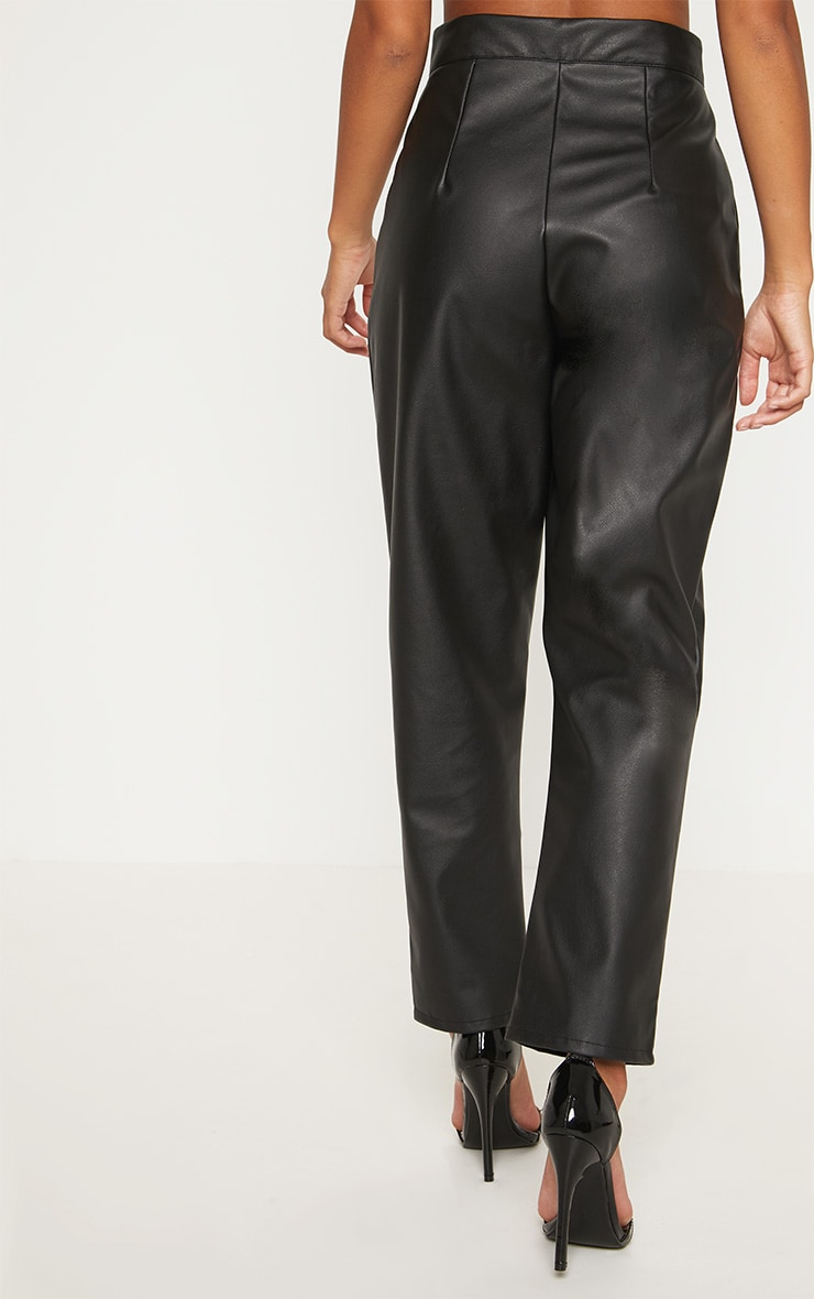 Petite Black Faux Leather Slim Leg Trousers 4
