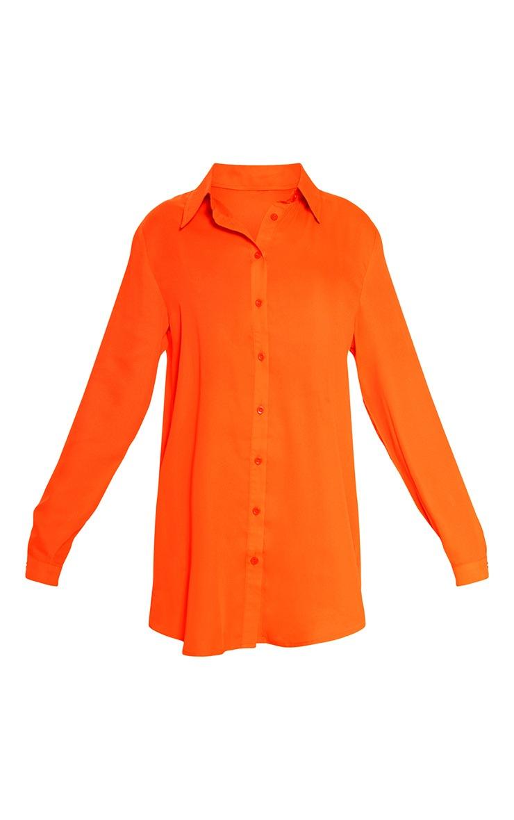 Neon Orange Oversized Beach Shirt 3