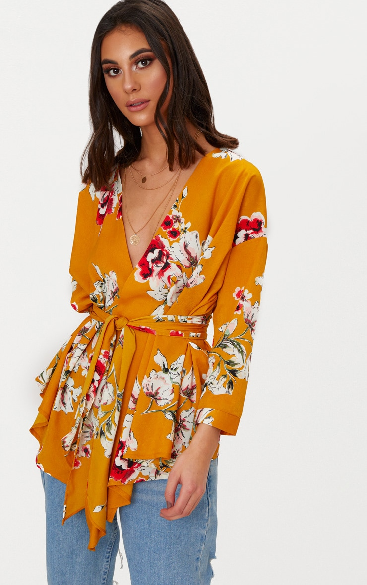 Mustard Large Floral Print Tie Waist Blouse  1