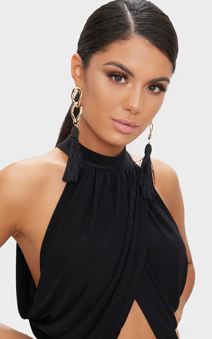 Black Neck Wrap Crop Top  5