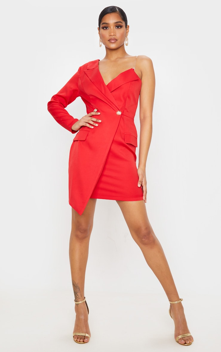 Red Asymmetric One Shoulder Blazer Dress 4