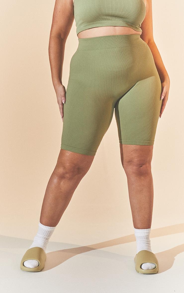 Plus Khaki Contour Bike Shorts 2