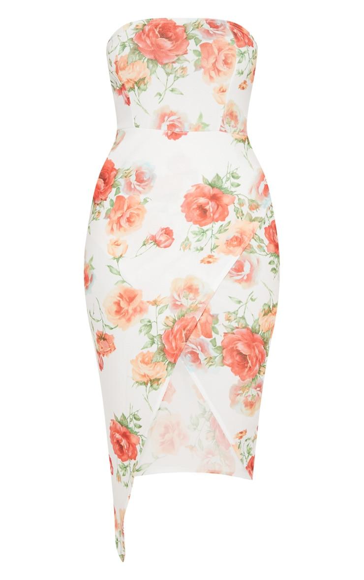 White Floral Bandeau Wrap Midi Dress 3