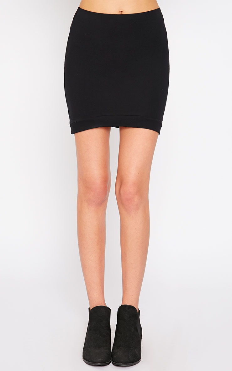 Phoenix Black Curved Hem Mini Skirt 2
