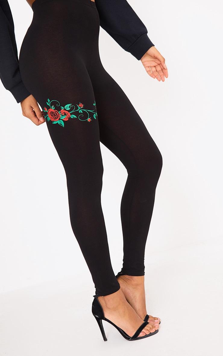Black Rose Print Legging 5