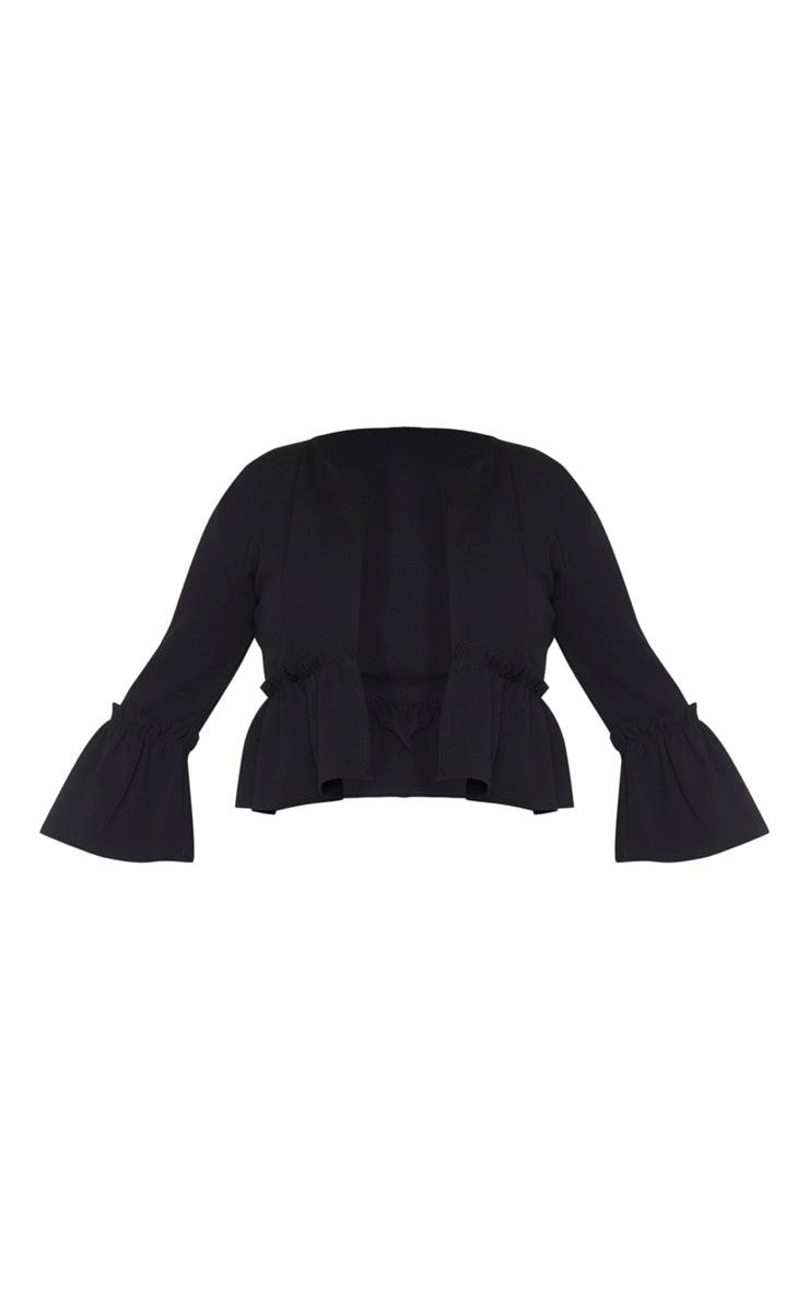 Plus Black Frill Sleeve Blazer 5