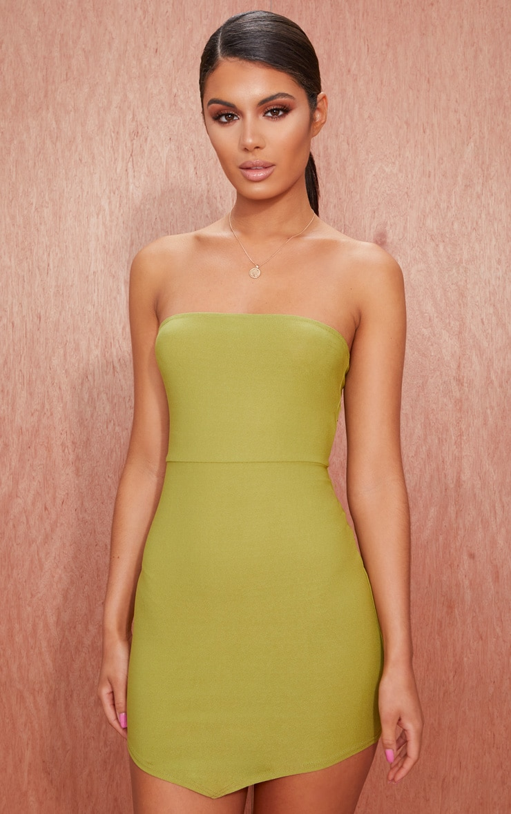 Olive Green Bandeau Pointy Hem  Bodycon Dress 1