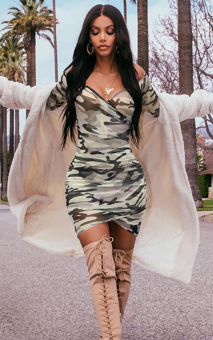 Shape Khaki  Mesh Camo Ruched Bardot Bodycon Dress 1