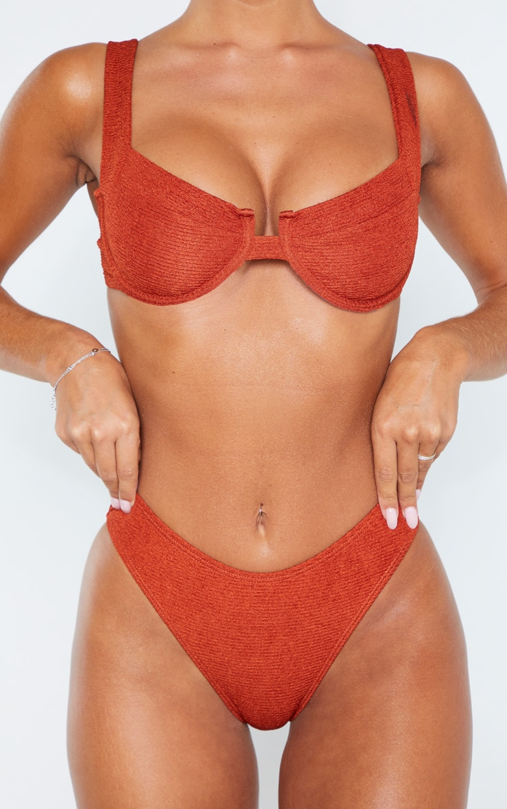 Brown Mini Crinkle Cheeky Bum Bikini Bottom 4