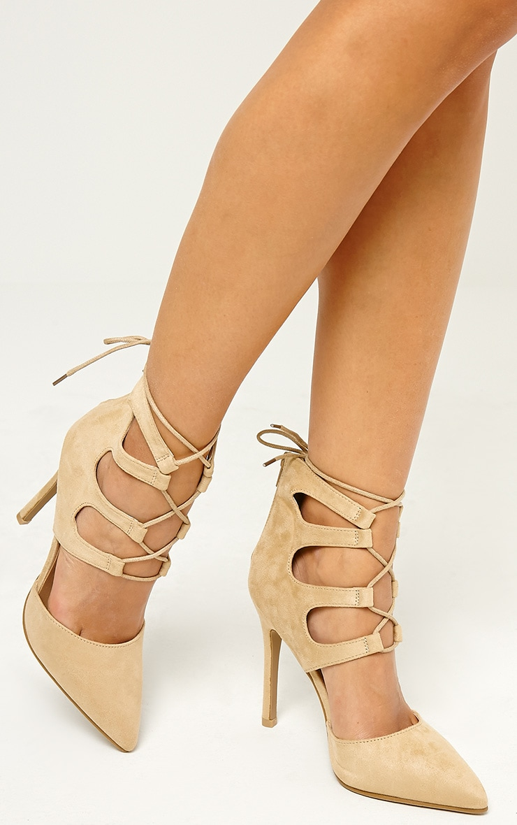Lydia Cream Faux Suede Lace Up Heeled Sandals 1