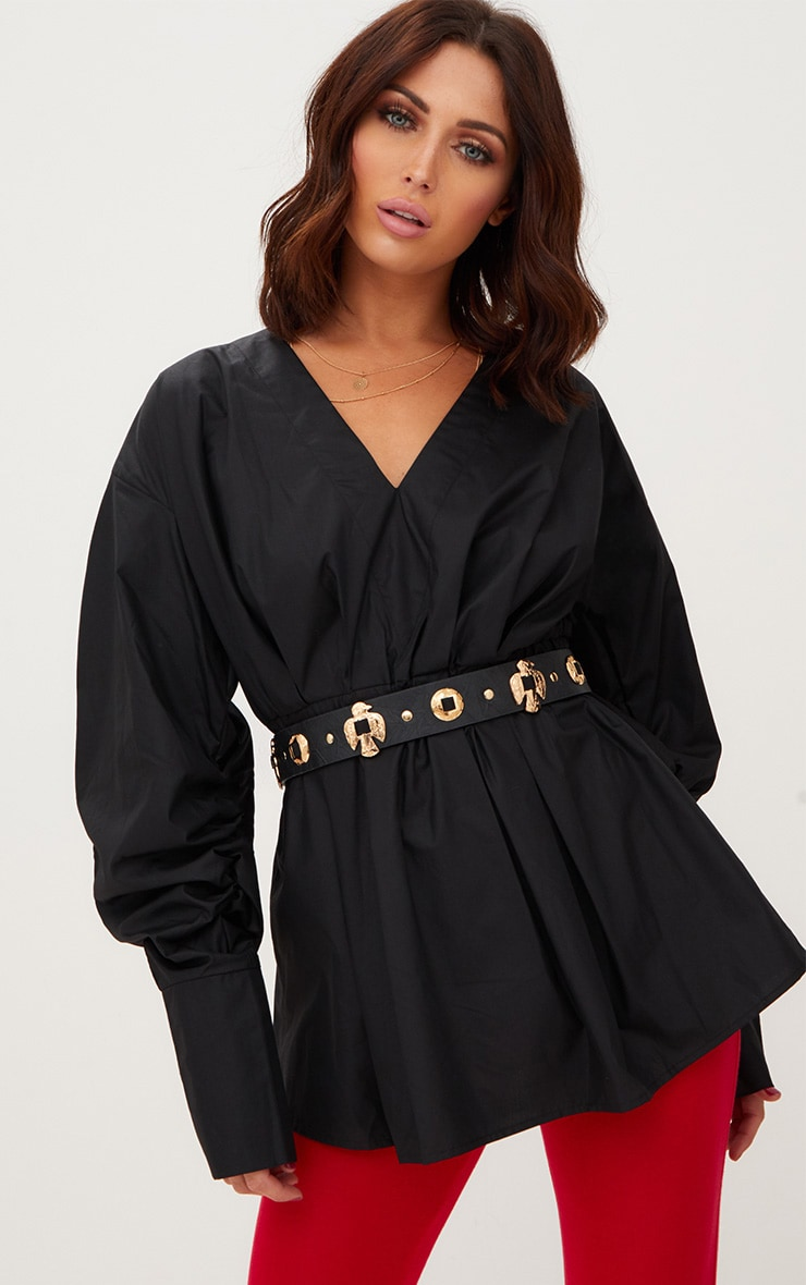 Black Ruched Sleeve Gathered Waist Shirt  1