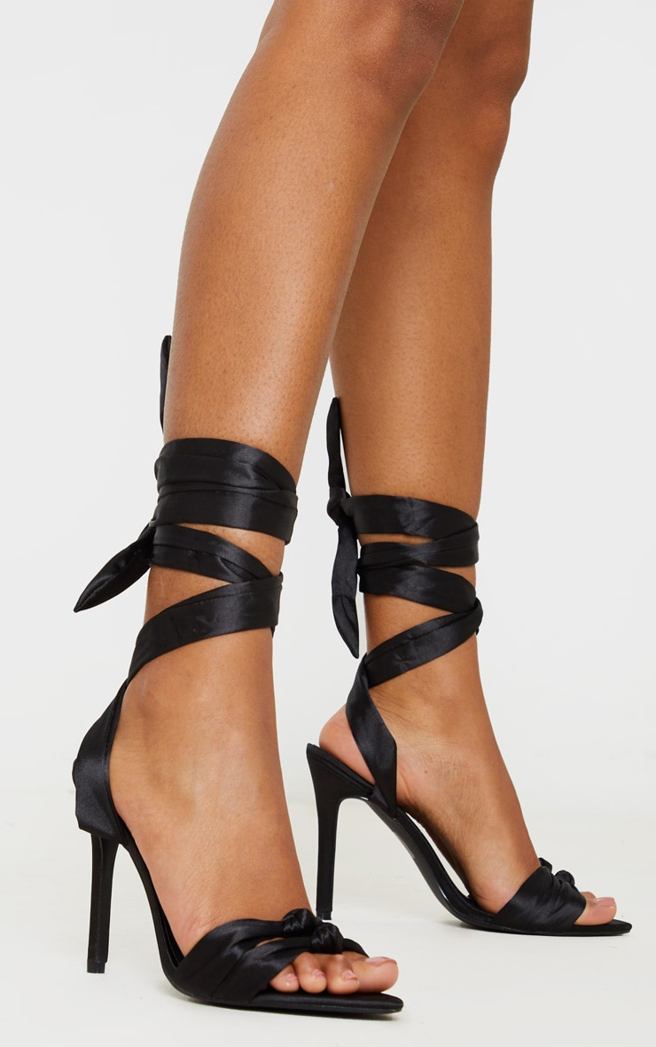 Black Knot Tie Ankle Strappy Point Toe Heeled Sandal 1