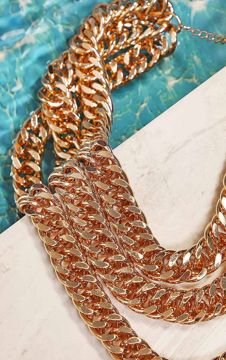 Gold Chunky Chain Three Layer Necklace 2