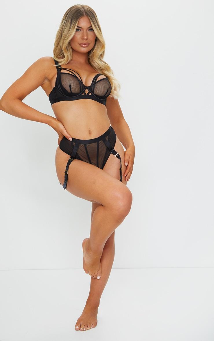 Black Ann Summers Mesh High Waist Suspender Thong 3