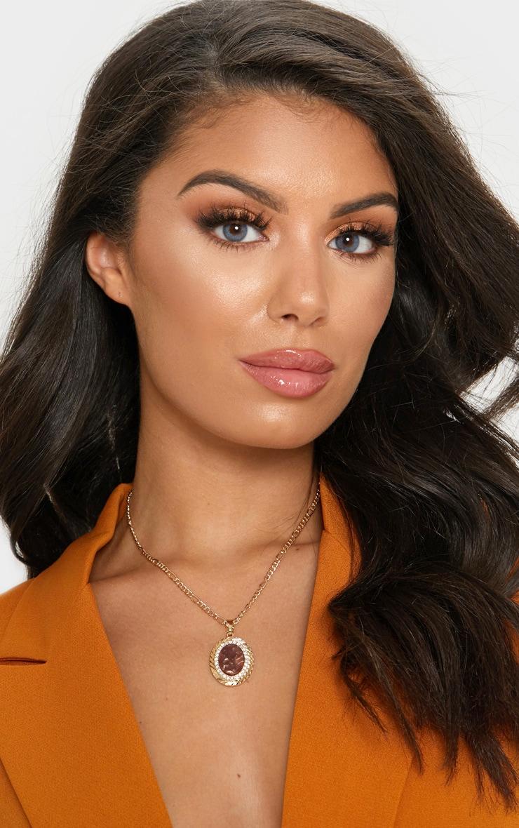 Gold Brown Gemstone Pendant Necklace 1