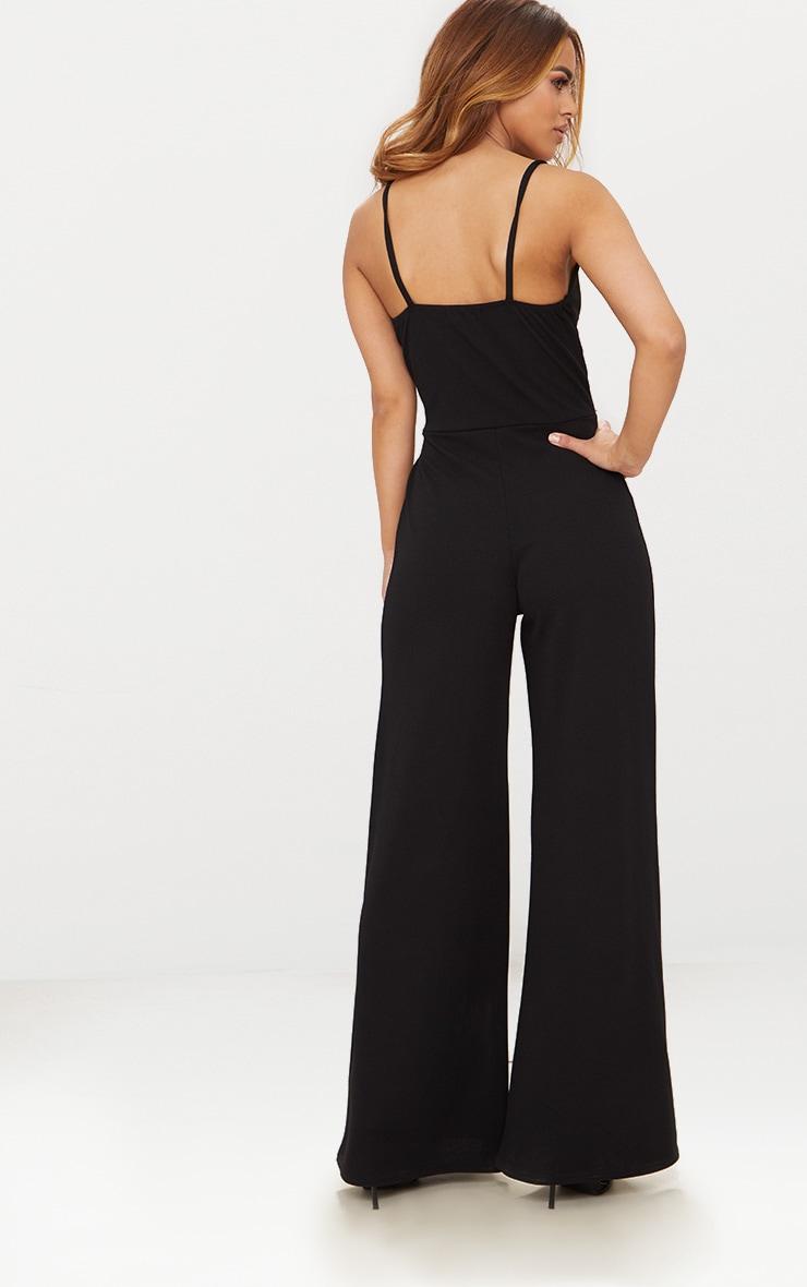 Petite Black Tie Waist Wide Leg Jumpsuit 2