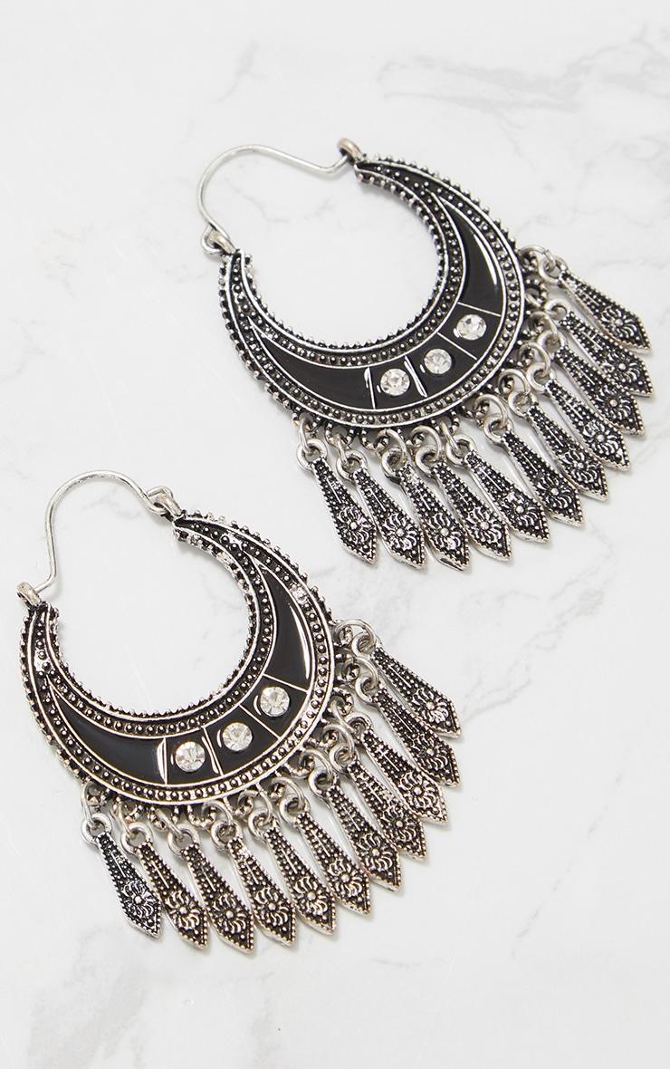 Silver Boho Diamante Tassel Earrings 4
