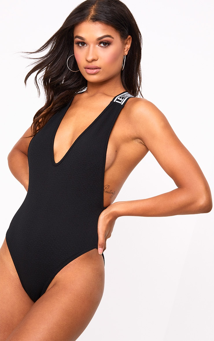 PRETTYLITTLETHING Black Strap Beach One Piece 2