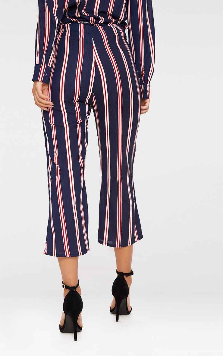Navy Stripe Ring Zip Cropped Trousers 4