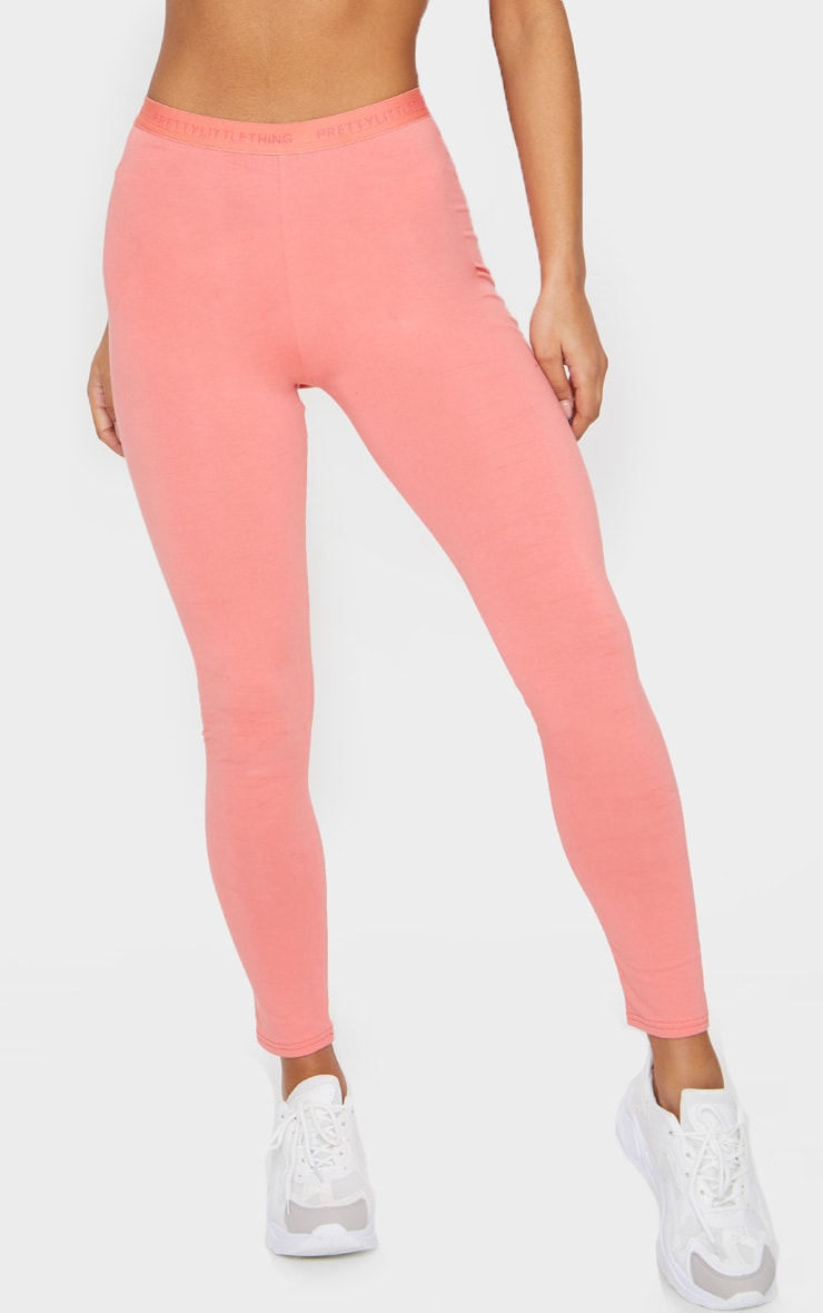 PRETTYLITTLETHING Coral High Waisted Leggings 2