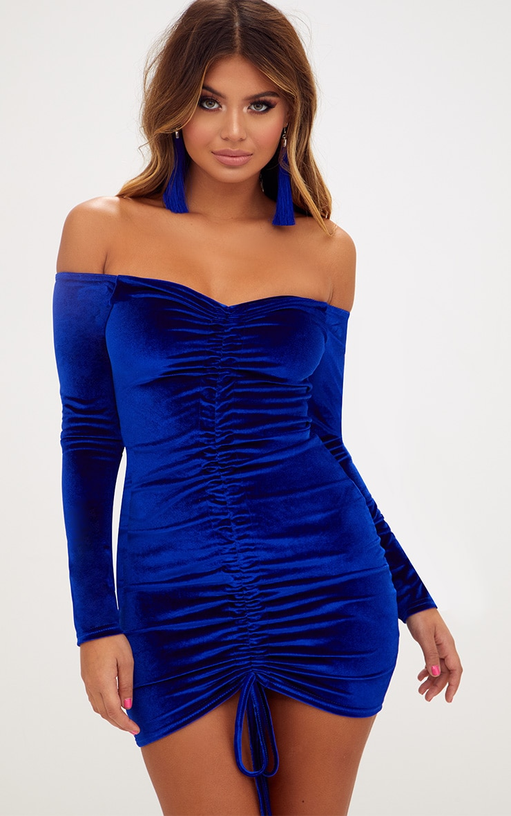 Blue Velvet Bardot Long Sleeve Ruched Bodycon Dress 1