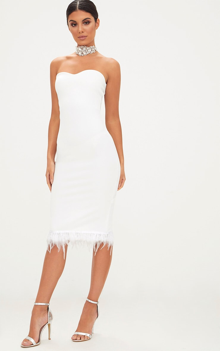 White Bandeau Feather Hem Midi Dress 4