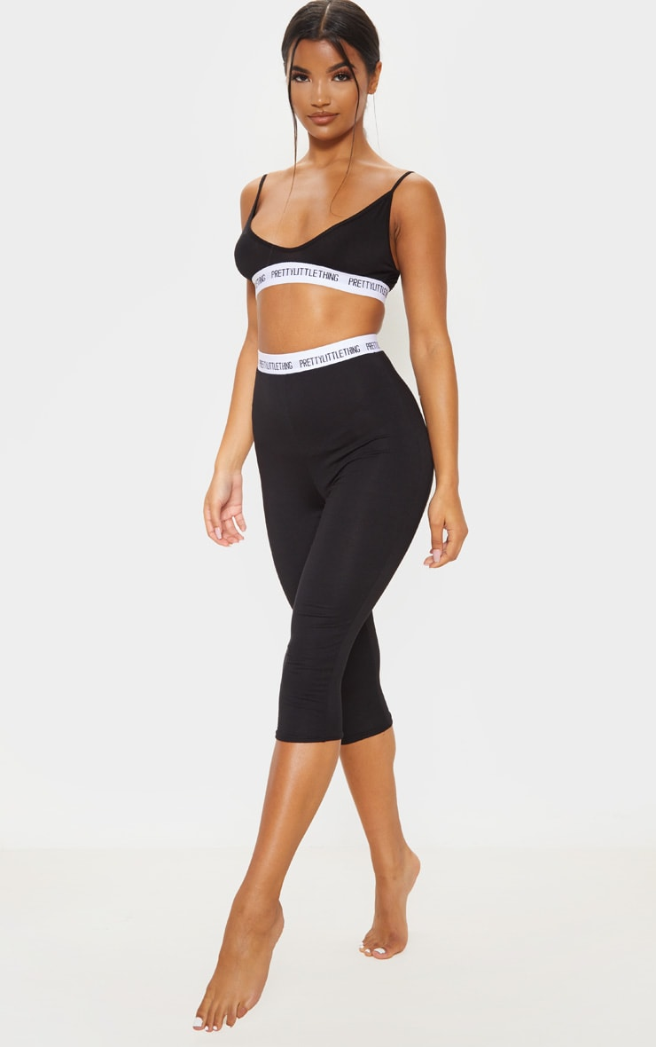 PRETTYLITTLETHING Black Bralet And Crop Legging PJ Set 4