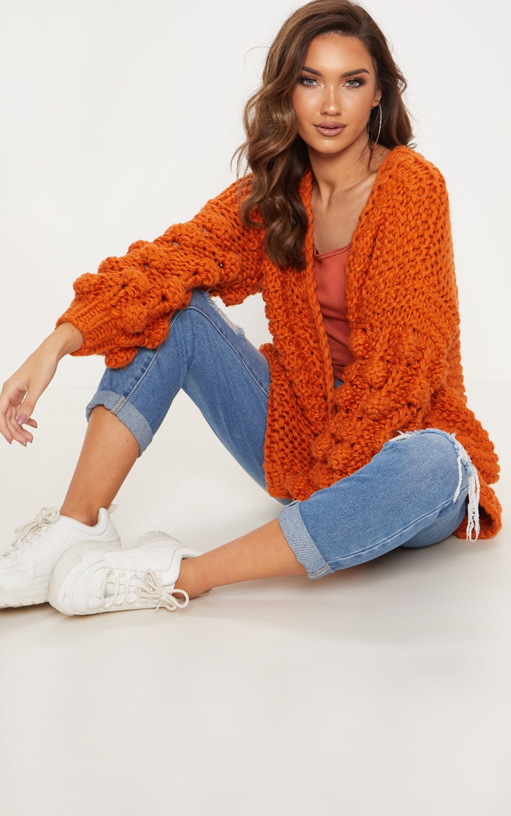 Rust Midi Length Bobble Sleeve Knitted Cardigan 4