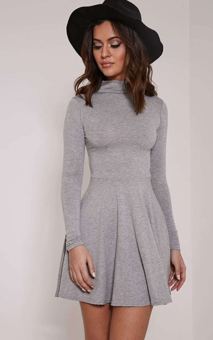 Basic Grey Marl High Neck Skater Dress 5