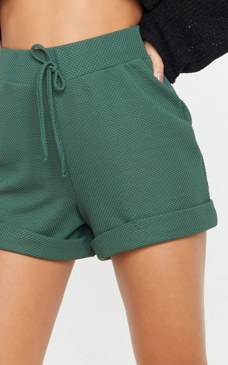 Emerald Green Waffle Turn Up Hem Short 6