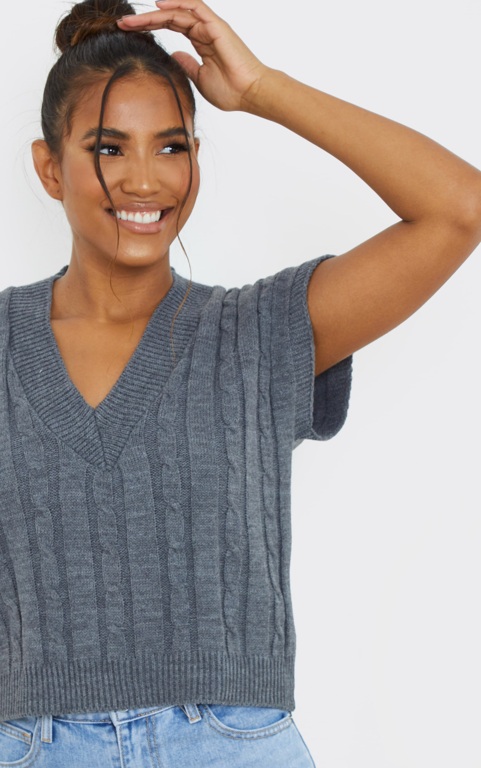 Charcoal Sleeveless Cable Knitted Top 4