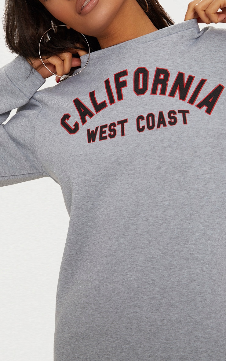 Robe pull grise oversized à slogan California 4