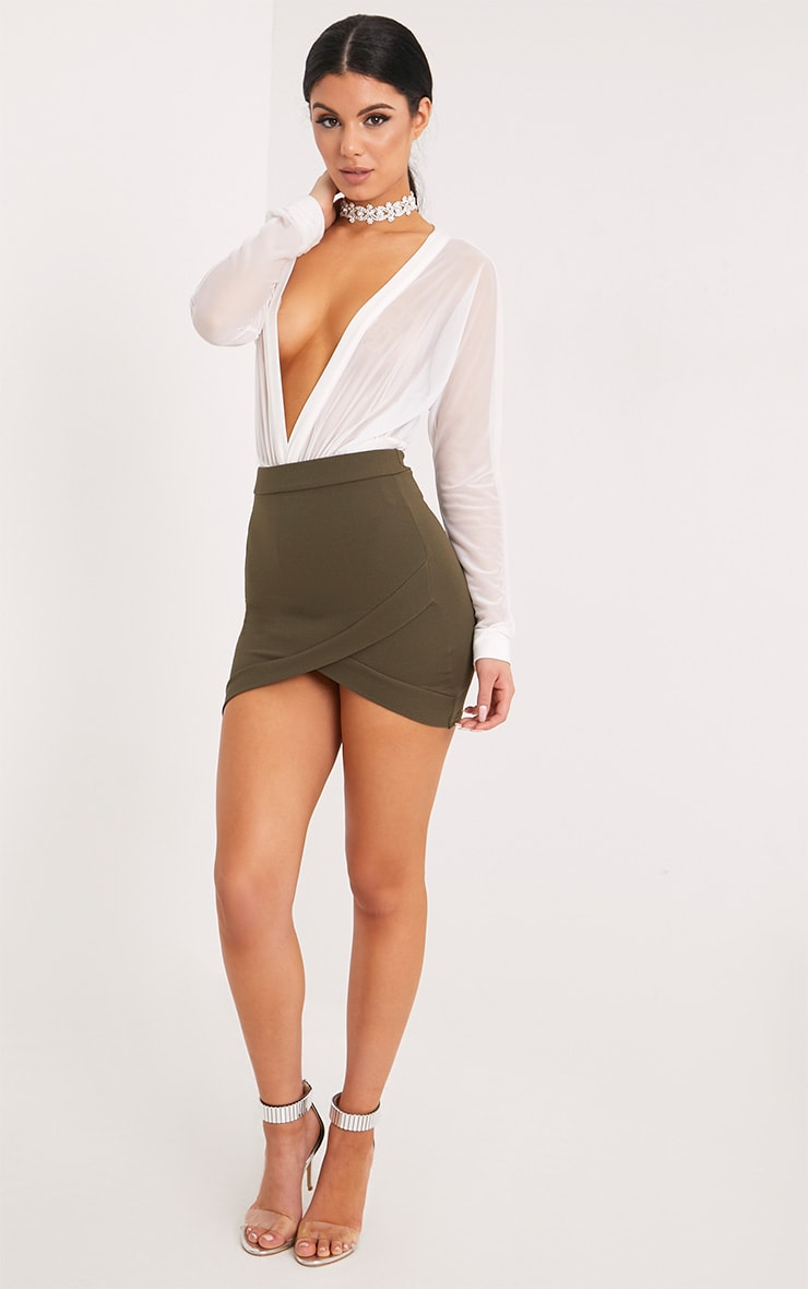 Gabriella Khaki Asymmetric Mini Skirt 6