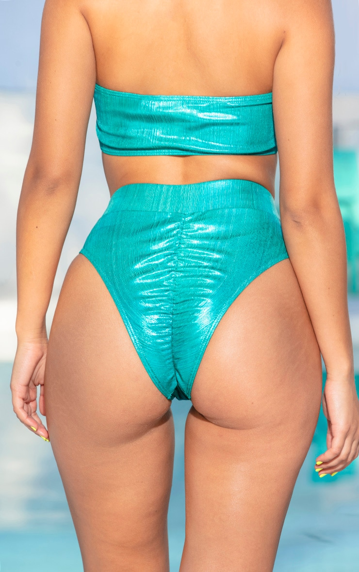 Teal Metallic Ruched Bum Bikini Bottom