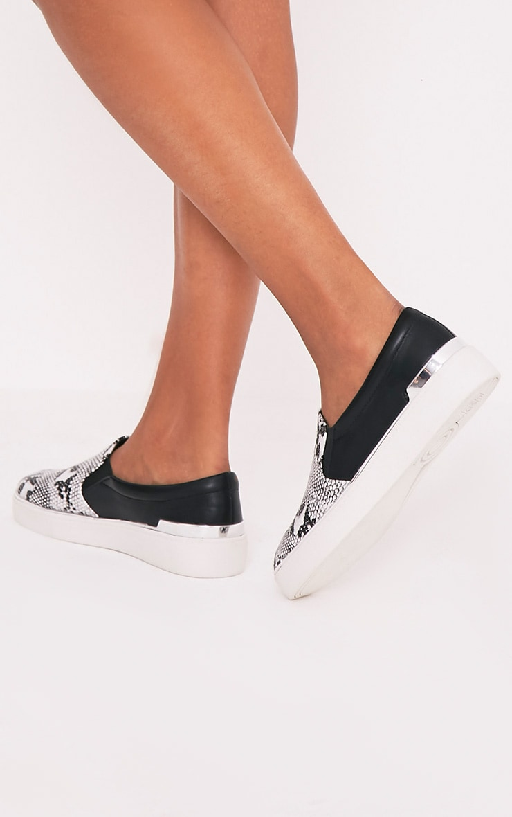 Ania White Faux Snake Skin Slip On Trainers 2