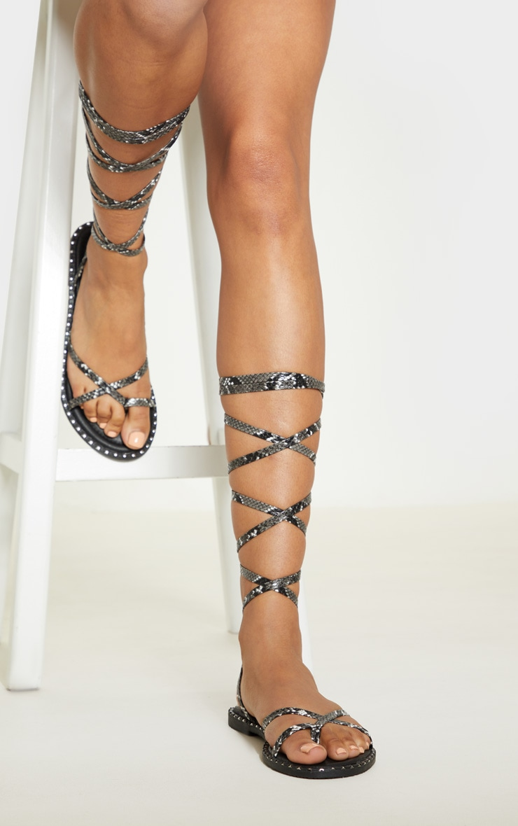 Grey Snake Toe Loop Ankle Lace Up Sandal 2