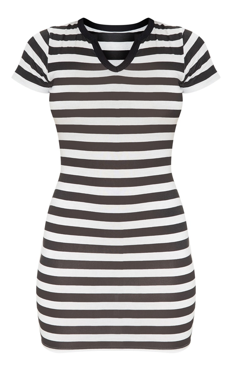 Black Stripe Cut Neck Bodycon Dress 3