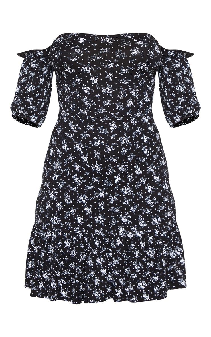 Black Ditsy Print Bardot Frill Hem Skater Dress 3