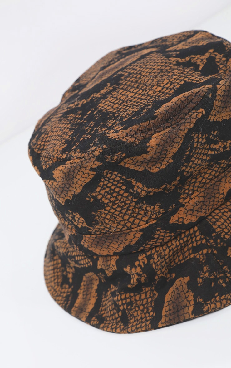Brown Snake Print Bucket Hat 3
