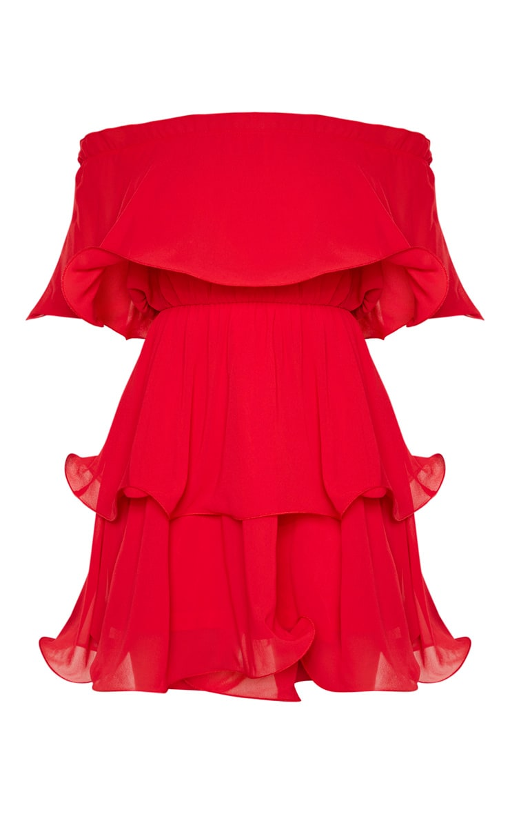 Petite Red Chiffon Bardot Ruffle Tiered Dress 3