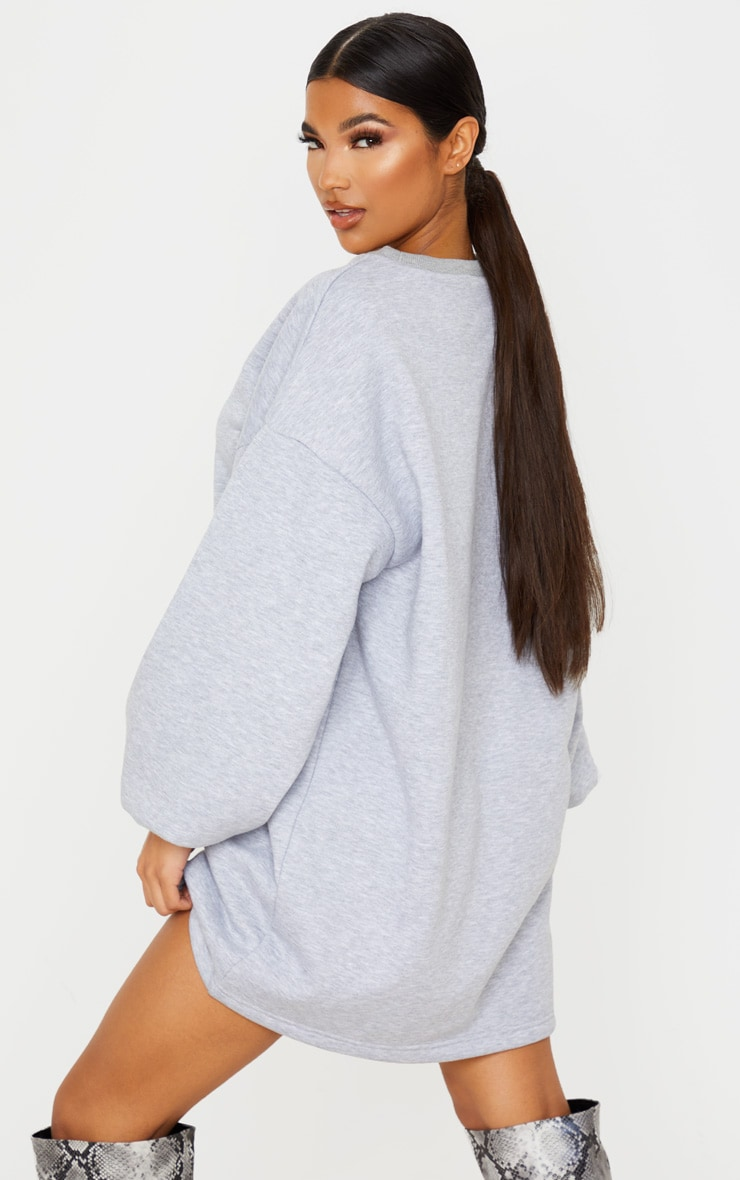 Grey Pocket Detail Oversized Long Sleeve Jumper Dress 2