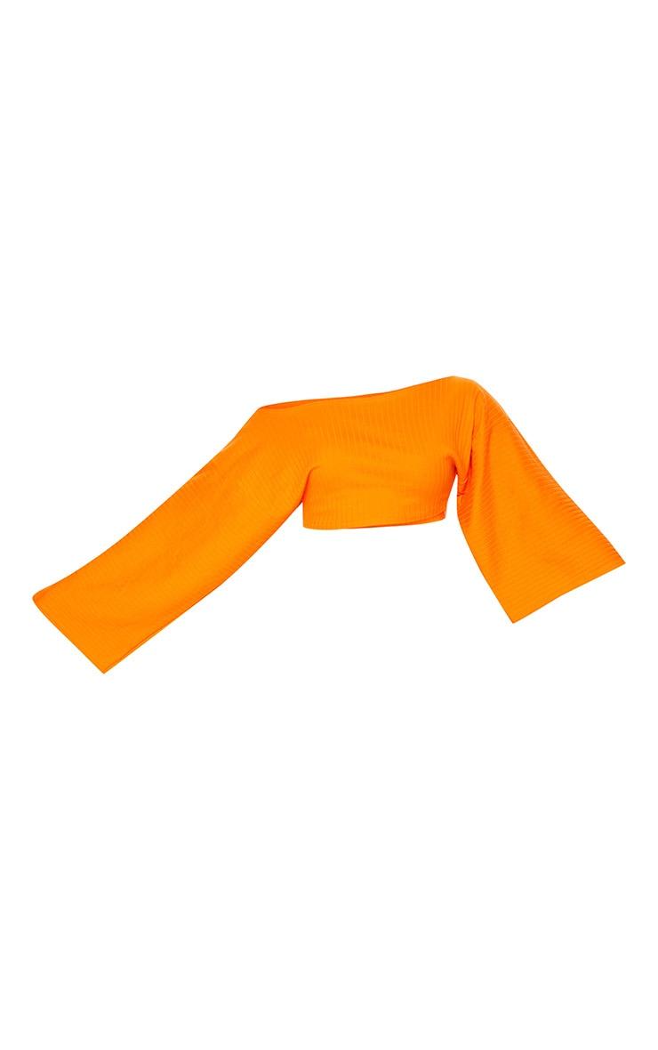 Orange Rib Off The Shoulder Crop Top 3