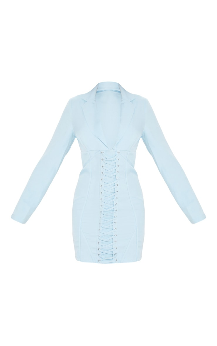 Baby Blue Long Sleeve Corset Lace Up Blazer Style Bodycon Dress 5
