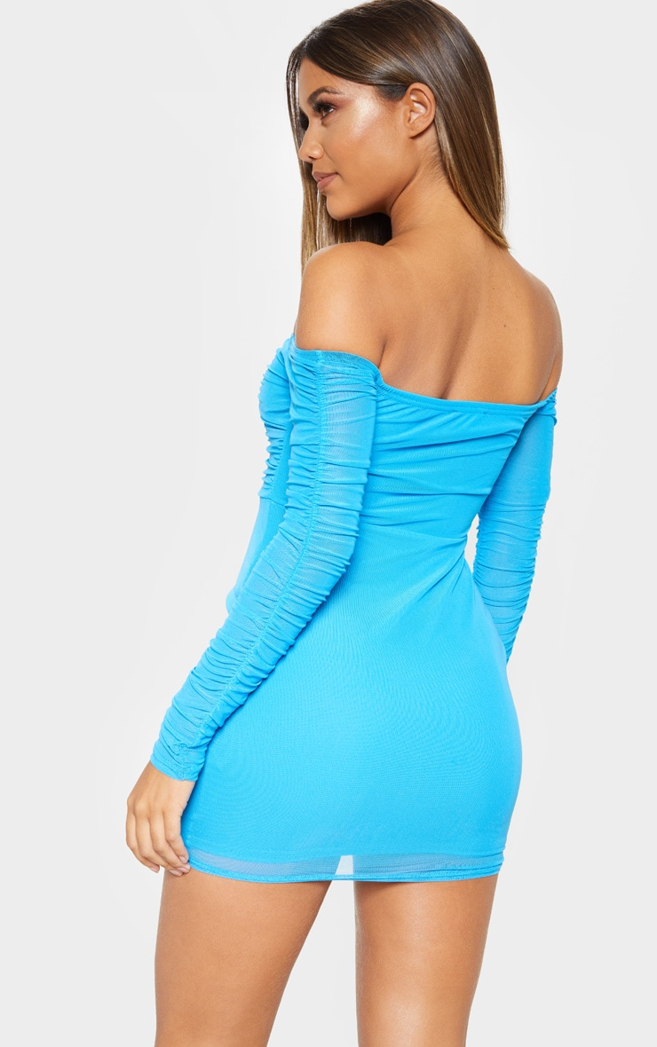 Blue Ruched Mesh Bardot Bodycon Dress 2