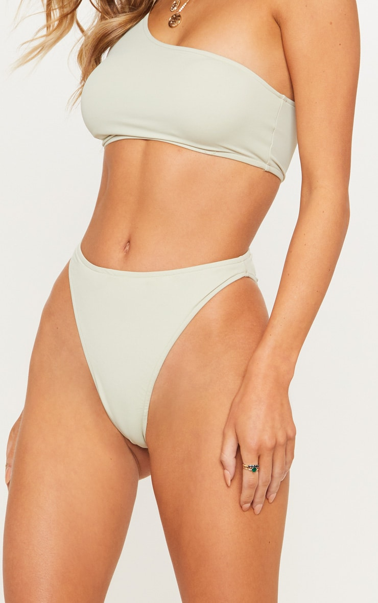 Sage Green High Leg Cheeky Bikini Bottom 7