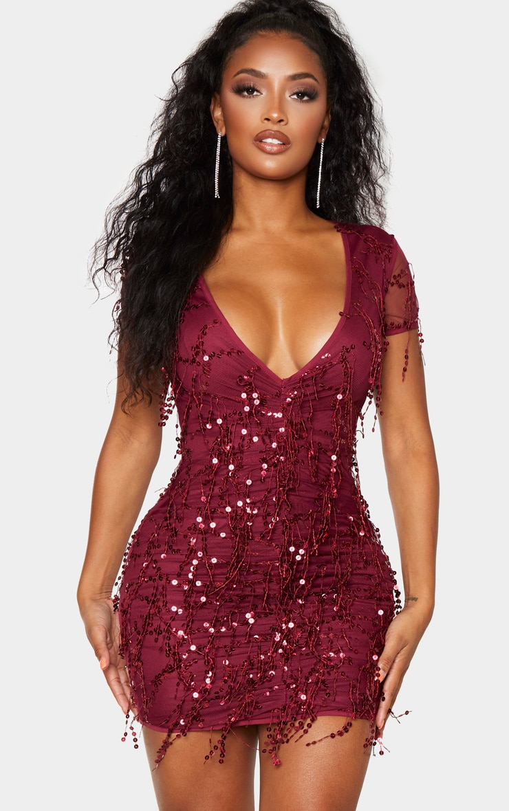 shape-burgundy-sequin-ruched-bodycon-dress- by prettylittlething
