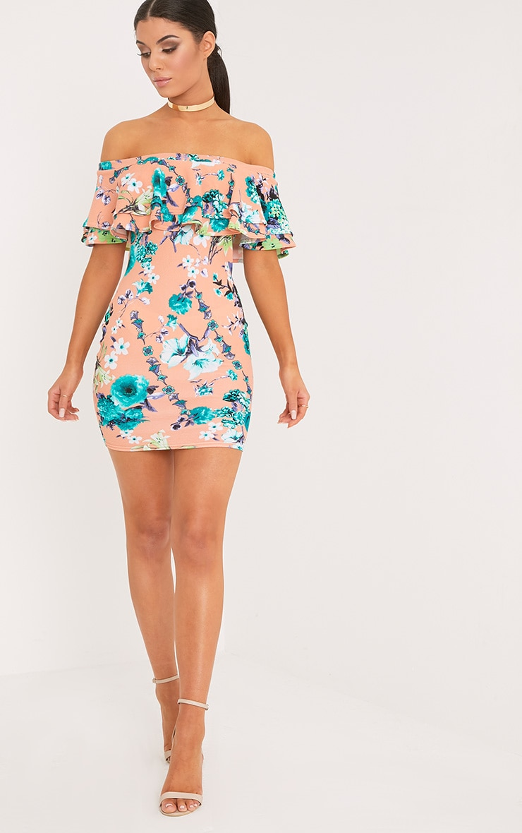Geneva Pink Floral Frill Bardot Bodycon Dress 4