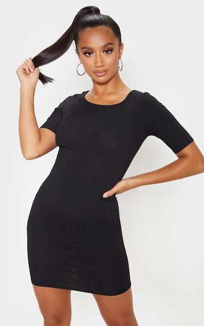 Petite Black Ribbed Scooped T-Shirt Mini Dress