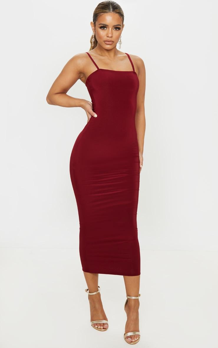 Petite Burgundy Square Neck Strappy Slinky Midaxi Dress 1