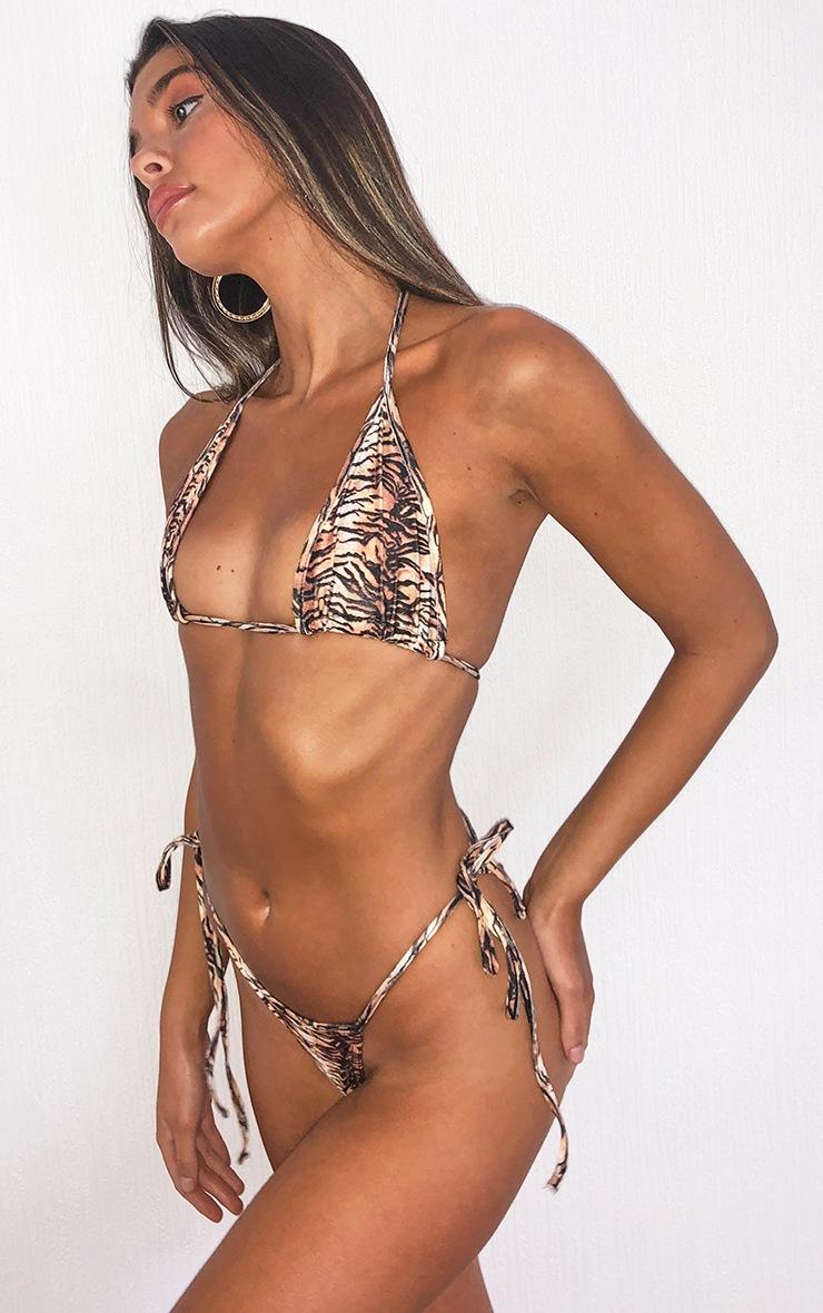 Brown Tiger Mix & Match Tie Side Bikini Bottom 2
